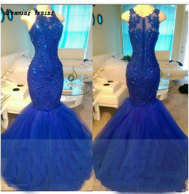 Online Shop Long Royal Blue Mermaid Prom Dresses With Beaded ...
