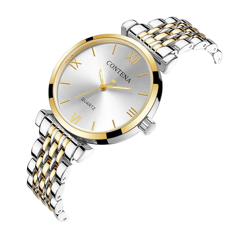 CONTENA Brand Women Watches Sliver Gold Women's Watches Steel Strap Luxury Ladies Watch Clock Relogio Feminino Montre Femme