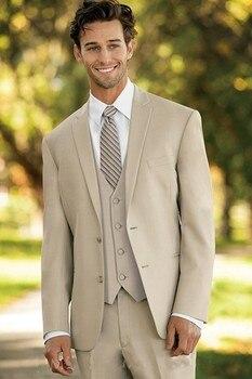 2017 Italy Fashion Man Tuxedos Custom Made Beige Groomsman Suits Men's Beach Vacation Dress Daily Wear (Jacket+Pants+Vest+Tie)