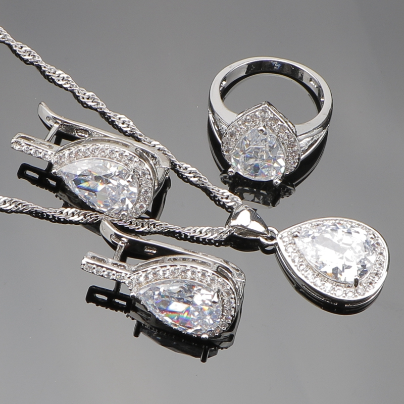 Water Drop Pure White CZ 925 Sterling Silver Bridal Jewelry Sets For Women Necklace/Pendant/Rings/Earrings Free Gift Box