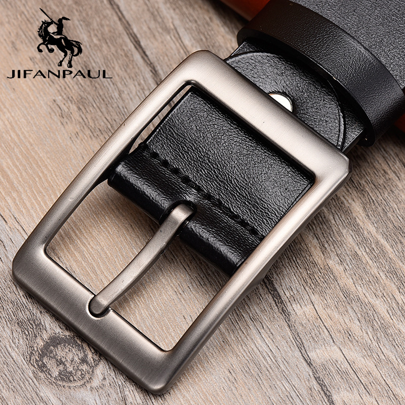 JFANPAUL Leather Belt Men New Fashion High Quality Belt Designer  Retro Belt Beautiful Alloy Pin Buckle Style Men Belts Student