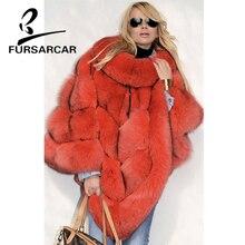 FURSARCAR Real Fox Fur Shawls Women Fashion Fox Fur Female Cape 2018 New Winter Luxury Style Thick Cape With Fur Collar