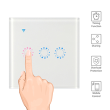 WiFi Touch Wall Light Switch Panel 1/2/3 Gang Wireless Wall Switch Support Timing and Remote Control Work with Alexa Google Home