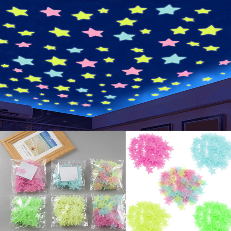 Luminous Starry 3D Wall Sticker Glow In The Dark Wall Stickers Home Decor Kids Room Decoration Sticker Decal Fairy Star TSLM1(China)