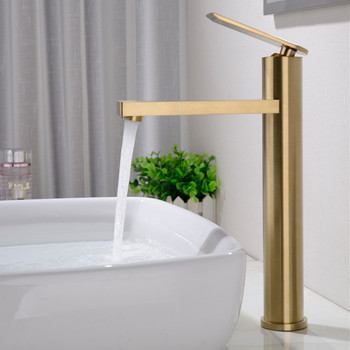 Solid Brass Brushed Gold Bathroom Basin Faucet Cold Hot Sink Mixer Tap Deck Mounted Round Water Faucet Chrome/Black Crane