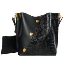 Large Capacity PU Alligator Bucket Bags Women Crocodile Pattern Handbag Casual Shoulder Messenger bolso mujer A5