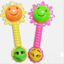 Baby Rattle Sunflowers Plastic Early Education Bell Music Teach Ring Hand Catcher Toy Children Kids Funny Gift