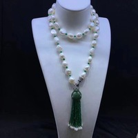 Long Fresh Water Pearl Necklace 80CM 10 11MM Accept Order Any Lenth 925 Sterling Silver Leopard