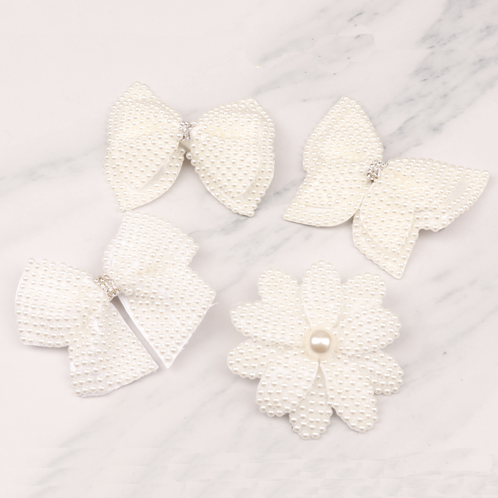 3PCS lot 4 quot Solid White Pearl Hair Bows With Alligator Clips Boutique Pearl Hair Accessories Rhinestone Ribbon Bow CNHBW 1411191 in Hair Accessories from Mother amp Kids