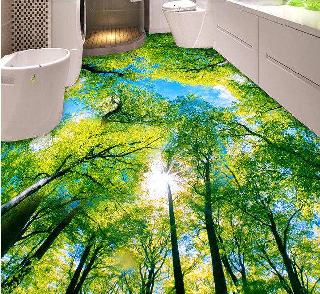 3d pvc flooring wallpaper custom photo waterproof self adhesion crown of a tree, blue sky bathroom 3d wall murals wallpaper 3 d flooring custom waterproof 3 d pvc flooring 3 d tree forest leaves 3d bathroom flooring photo wallpaper for walls 3d