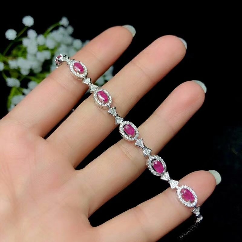 shilovem 925 sterling silver real natural Ruby Bracelets fine Jewelry trendy women party new plant wedding 3 5mm bl0305021agh in Bracelets Bangles from Jewelry Accessories