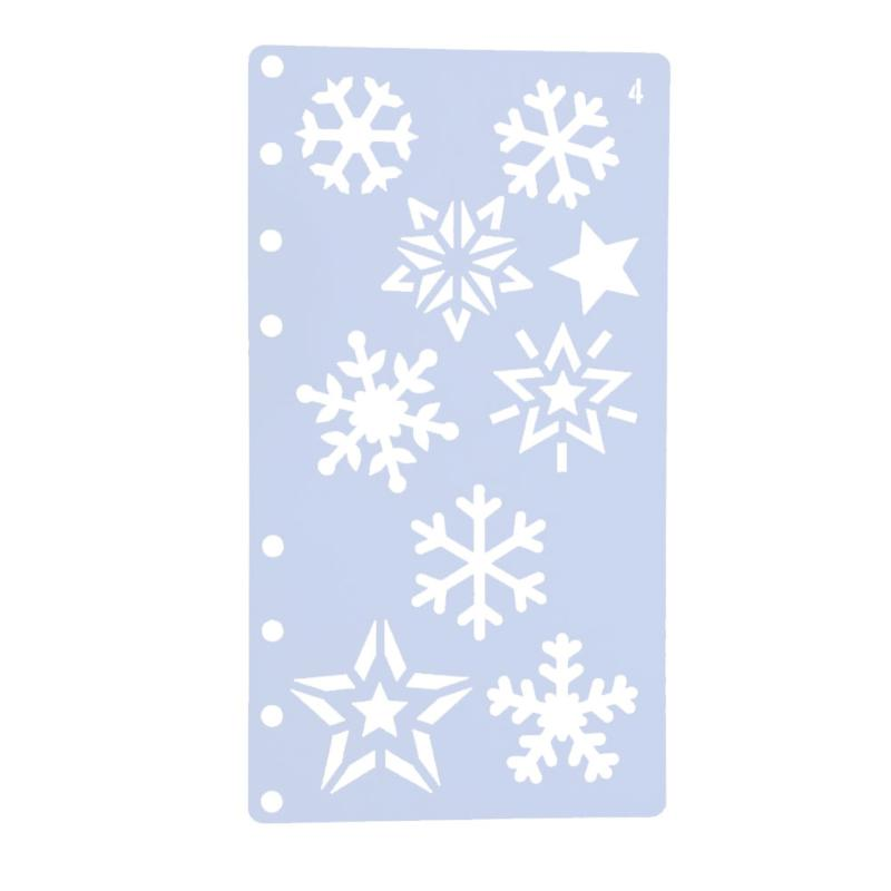 Snowflake Style Plastic Hollow Stencils Fashionable A6 Page Template DIY Photo Album Drawing Painting Ruler Tool School Supplies