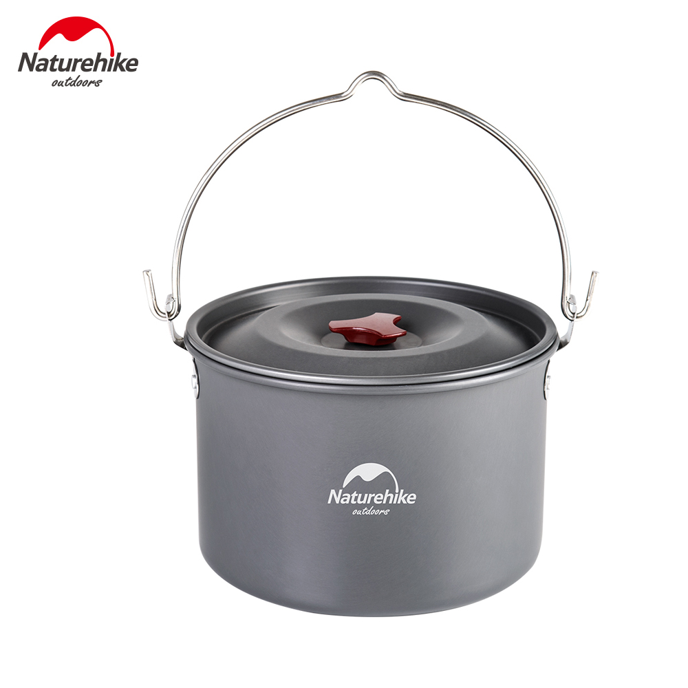 Naturehike 4-6 Person 4L Hanging Cookware High Capacity Pot Outdoor Camping Picnic Campfire Pot NH17D021-G thicken 4 pcs stainless steel hanging pot set outdoor hiking traveling kit picnic skillet flambe campfire cookware bonfire party