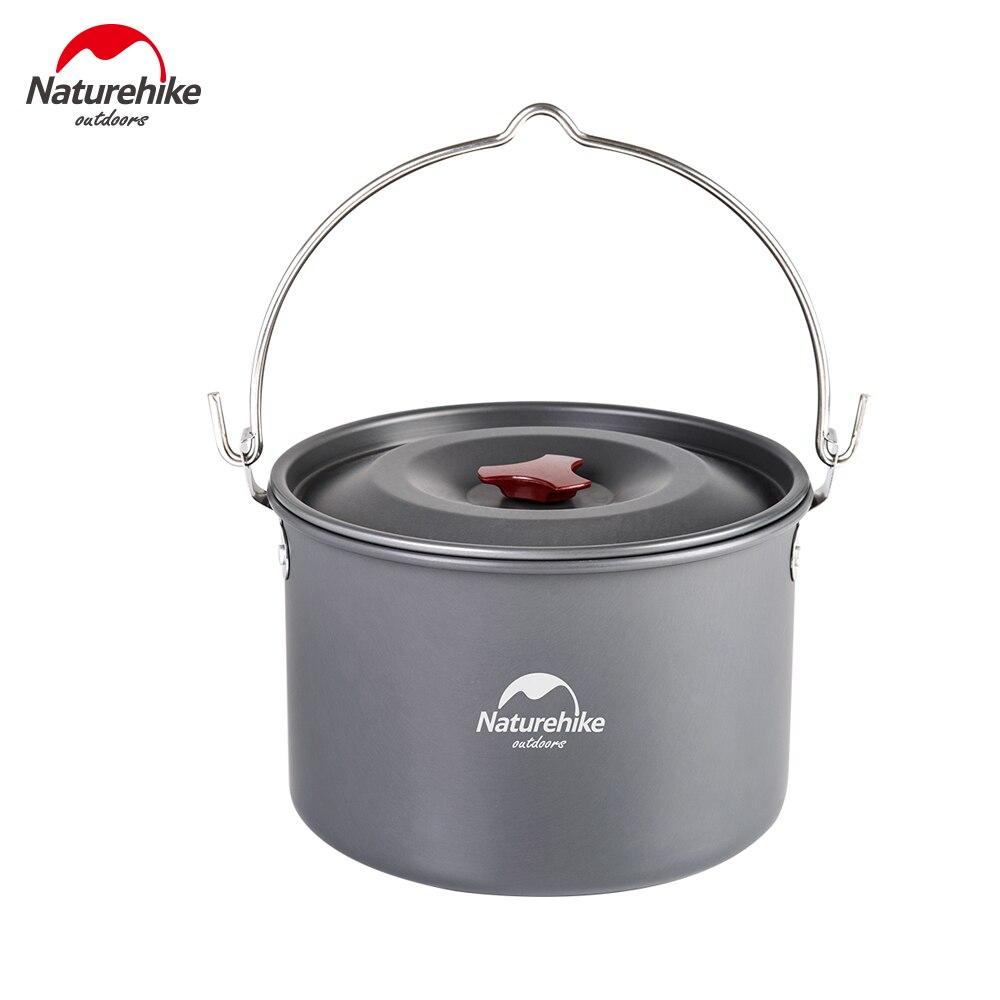 Naturel randonnée 4-6 personne 4L batterie de cuisine suspendue haute capacité Pot en plein air Camping pique-nique feu de camp Pot NH17D021-G