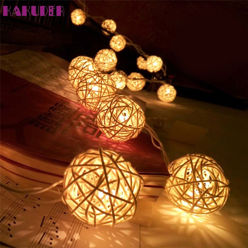 Fashion Style Yimia 5m Led String Rattan Balls Sepak Takraw Light Strings 20 Bulbs Garlands Fence Beach Bar Wedding Christmas Party Decoration High Quality And Inexpensive Led Lighting