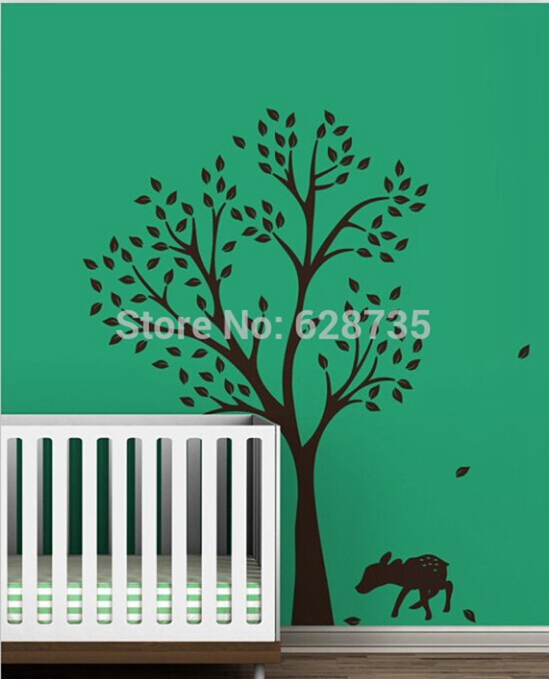 Large decorative wall decals promotion shop for promotional large large size 198 x141cm tree and lovely deer vinyl wall sticker babykids room wall art decals decoration amipublicfo Choice Image