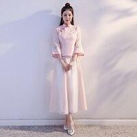2018 Pink Vintage Chinese Blouse Skirt Sets Womens Short Shirt Mandarin Collar 2pc cheongsam Clothing Summer Qipao Dress S 3XL