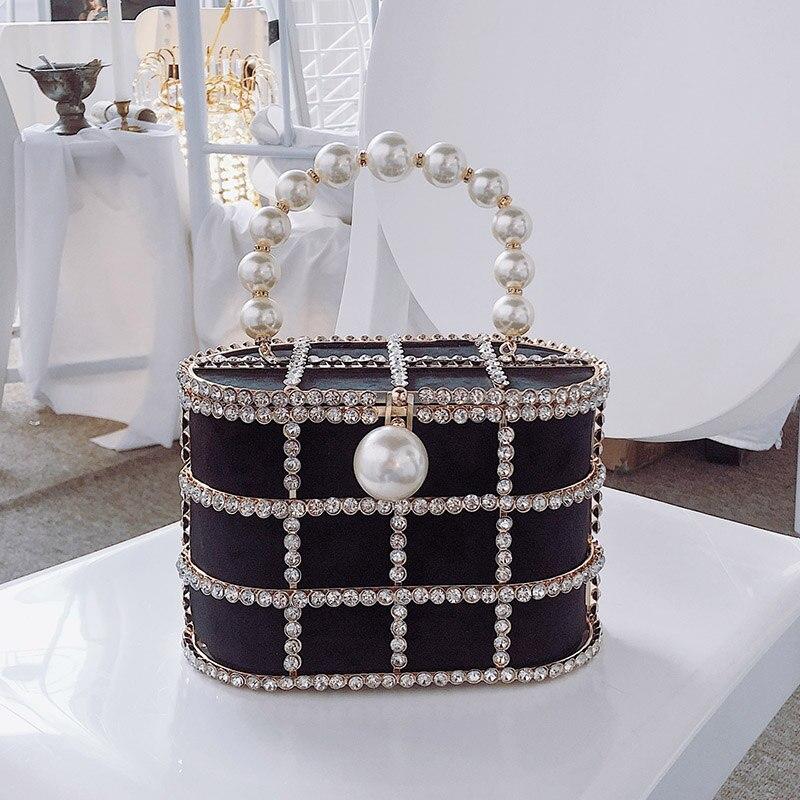 cesta design diamantes pérolas bolsas festa de