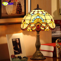 FUMAT Baroque Stained Glass Table Lamps For Living Room Bedside Lightings Vintage LED Lights Creative Art Bed Room Table Lamp