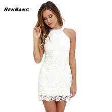 RENBANG Vestidos Lace Dress Elegant Women Short Prom Office Slim Party Dresses Summer 2018 Casual Beach Dress Plus Size