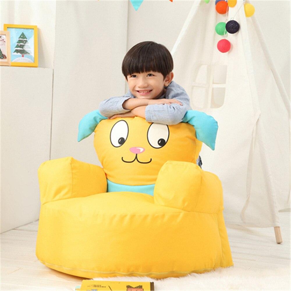 Fancytrader Дети Мини диван мультфильм собака Beanbag Дети пушистый желтый сиденье для щенка заполнены частицами отличный подарок