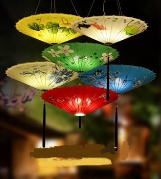Chinese style umbrella hanging lamp cloth art pendant lamps wind umbrella antique chaffy dish shop pendant lights ZA ZL534
