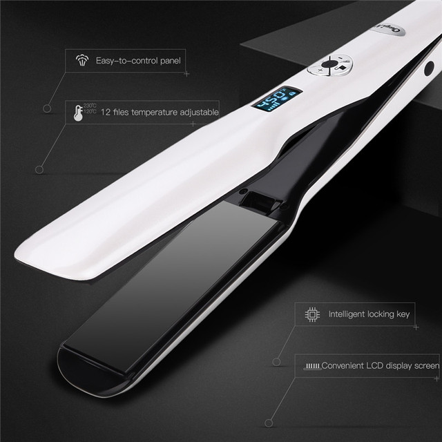 3D Rotating Hair Straightener Box Packaging Professional Hair Styling Iron Fast Heating Flat Iron Wide Heating Plate LCD Screen