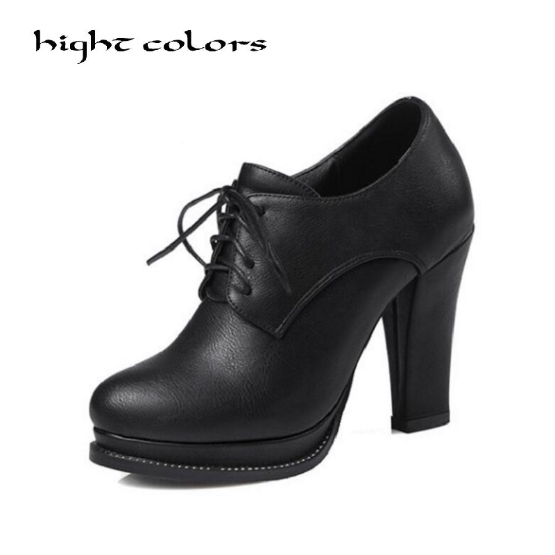 Brand Designers 2018 New Spring Autumn Women Shoes Black High Heels Boots Lacing Platform Ankle Boots Chunky Size 34-43
