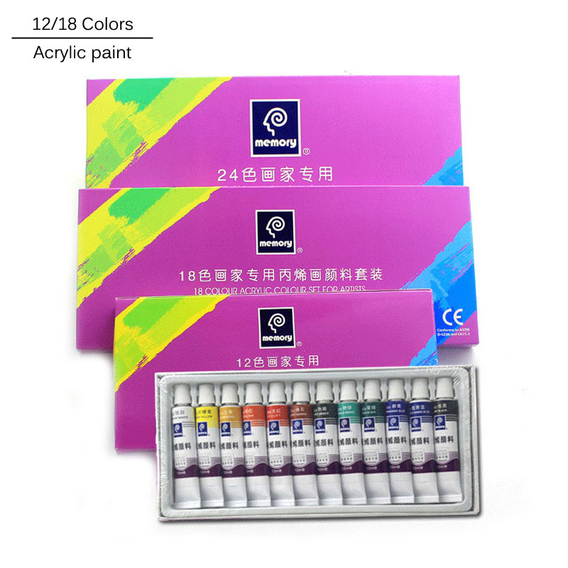 18 Colors 12ML Tube Acrylic Paint set color Nail glass Art Painting paint for fabric Drawing Tools For Kids DIY Water-resistant professional 24pcs set paint acrylic paint tube set nail art painting drawing tool for artist kids diy design free for brush