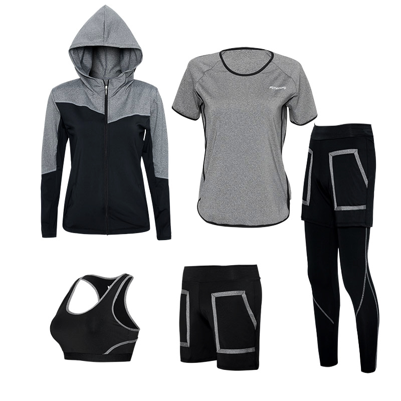 Yoga Set Frauen Plus up Gym Kleidung Sport Bh + Pants + Hemd + Kurze + Jacke 5 Pcs Atmungsaktiv fitness Lauftraining Trainingsanzüge - 6