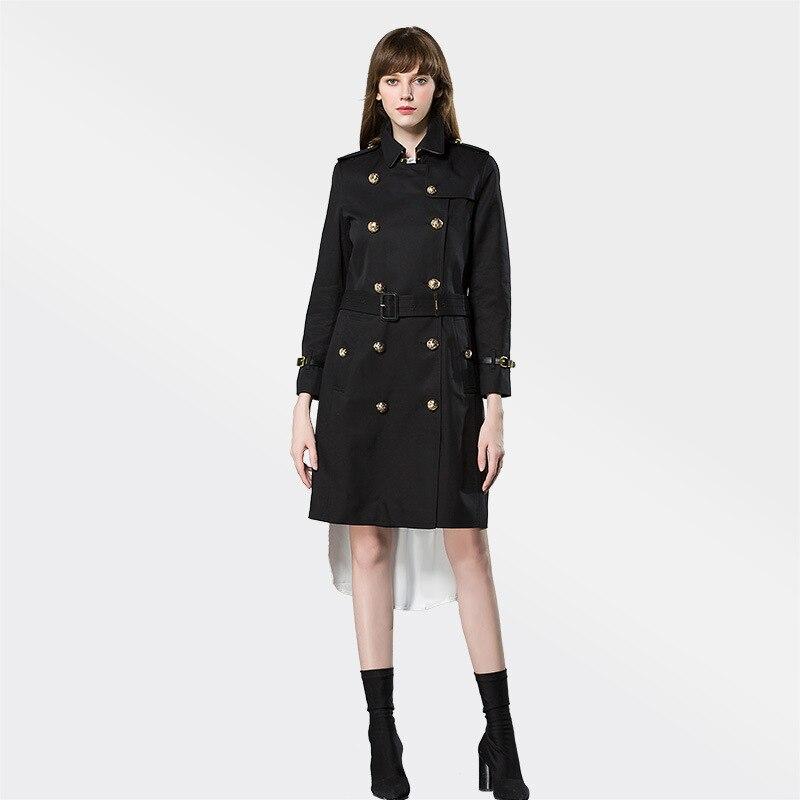 a690a8820187 Qualité Classique Vêtements 2018 Femme Noir kaki Tranchée Manteau Affaires  Breasted Marque Double Haute Imperméable 5IxBwxaU