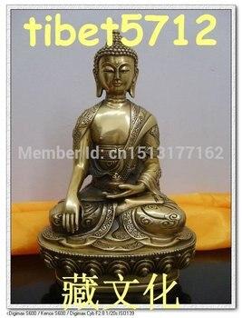 "8"" TALL TIBETAN NEPAL BRONZE SHAKYAMUNI BUDDHA STATUE CARVING DRAGON AND PHENIX Bronze Finish Buddha Healing Statue"