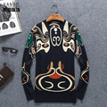 Chinese style personality Beijing Opera Mask printing quality men sweater 2016 Autumn&Winter fashion pullovers sweater men M-4XL