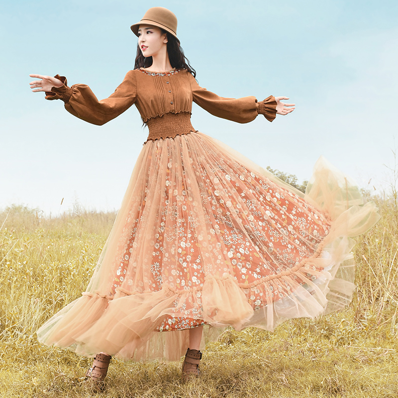 Free Shipping Boshow 2020 New Autumn Women Suede And Gauze Patchwork One-piece Long Maxi Print Flower Long Lantern Sleeve Dress