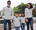 2016 Spring Family matching outfit Striped long T shirt woman man boy girl Fashion Parent child Tops