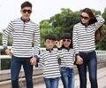 2016 de primavera de la familia a juego traje a rayas camiseta larga mujer hombre chico chica moda entre padres e hijos Tops