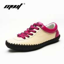 100% Genuine leather women's Flats shoes Fashion Mixed color Lace-Up Single shoes Spring/Autumn leather shoes