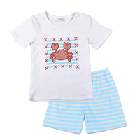 Super Cute Baby Boy Summer Clothes Cute Embroidery Crab Top With Blue Shorts Set Baby Summer