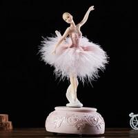 Aqumotic Pink Ballerina Music Box White Ballet Girl Rotating Music Box Feather Skirt Carousel 3d Box Musical Boxes for Girls