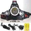 SZ20 9000 lumen 3*XML T6 LED Headlight Headlamp Head Lamp Light 4 mode flashlight +2x18650 battery+EU/US Car charger for fishing