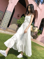 High Quality Solid Color New Women Clothing Beach Dress Women Dresses Gentle Style Thin White Dress Bohemian Long Dresses