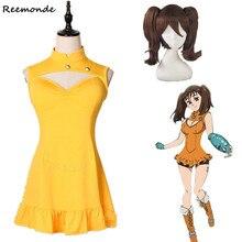 애니메이션 다이앤 코스프레 의상 뜨거운 게임 일곱 치명적인 죄 노란색 사랑스러운 드레스 합성 가발 머리 여자 여자 파티 의류