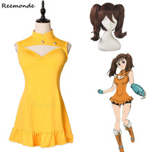 Anime Diane Cosplay Costume Hot Game The Seven Deadly Sins Yellow Lovely Dress Synthetic Wig Hair For Woman Girls Party Clothing