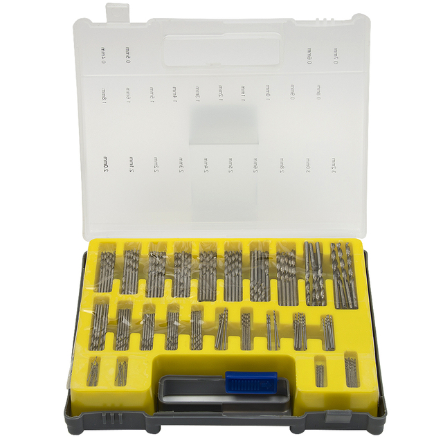 Plastic Box Mini HSS Hand Tools Twist Drill Kit Set 150PCS 0.4-3.2mm Drill Bit Set Small Precision with Carrying Case