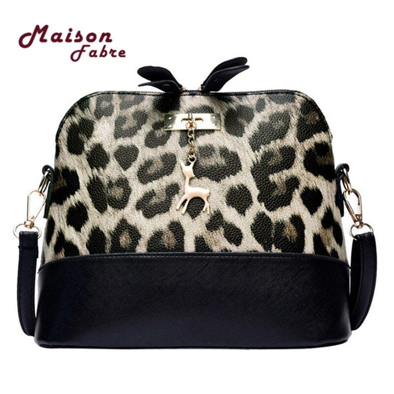 865efd09a635 Women Leopard Handbag Print Vintage Small Shell Leather Handbag Crossbody  Bag Fawn Pendant Leopard Shoulder Bag Messenger Bag