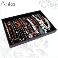 Para o conjunto de colar de couro Grande de veludo preto exibição colares acessórios bandeja de rack de armazenamento caixa de jóias colar plana A06