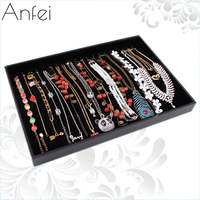 For Nec Klace Set Leather Large Black Velvet Necklace Display Tray Accessories Rack Jewelry Box Flapless