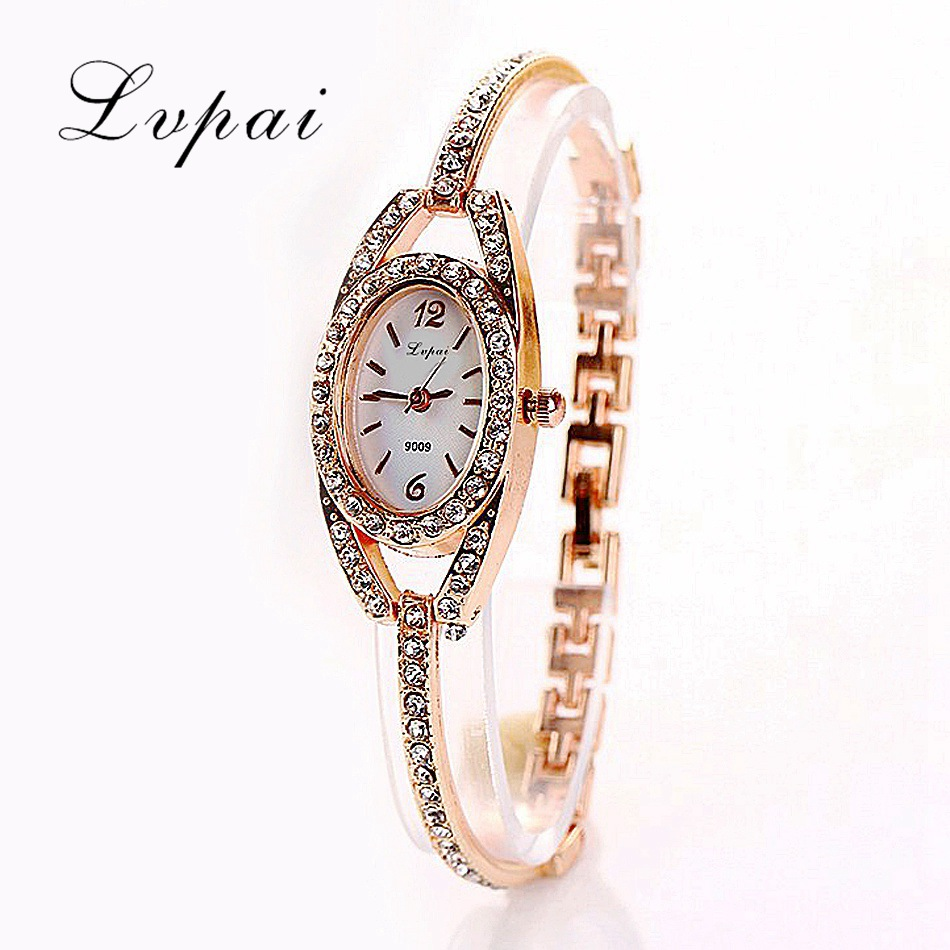 Lvpai Brand Rose Gold Watch For Women Crystal Women Alloy Wristwatch Quartz Watch Women Dress Watch Quartz Casual Watches