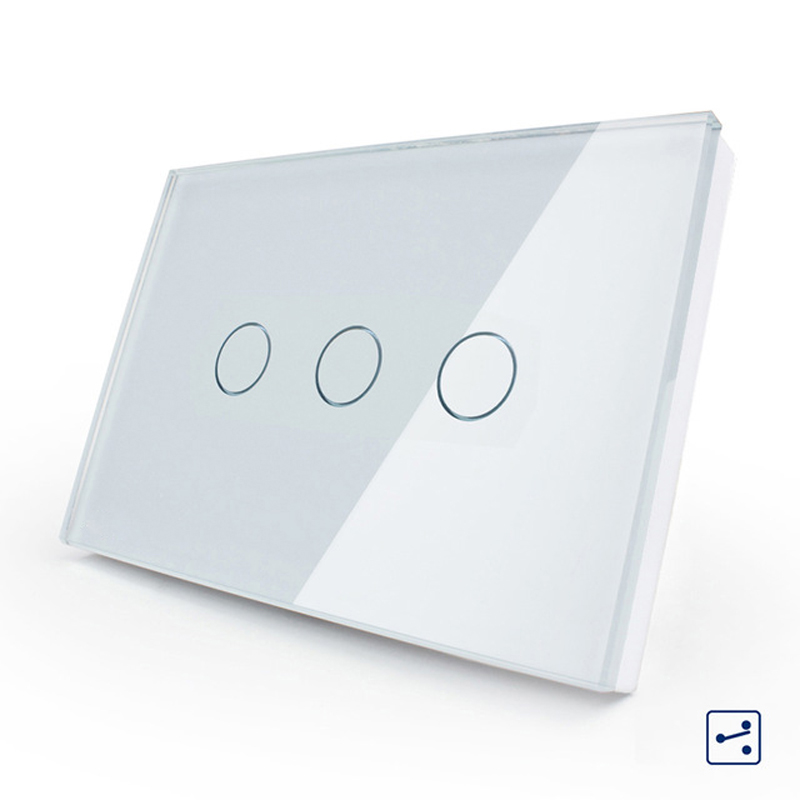 LIVOLO US AU Standard Touch Switch White Black Crystal Glass Panel 3 gang 2 way Touch
