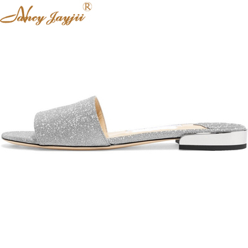 Joni Glittered Leather Slides Lycra Patent Leather Outside Slides 20mm Bling Silver Women Shoes Summer Slip on Plus Size 44 47